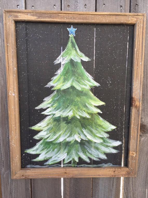 Items Similar To Pine Tree With Snow Rustic Pine Tree