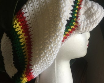 Crochet tam with visor and draw string