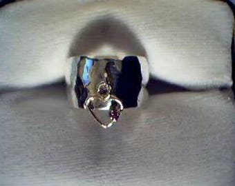 sterling silver and 14kt gold heart ring