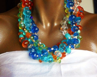 Colorful Resin Multistrand Chunky Statement Necklace, The Cayo Largo Necklace