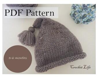 Baby stocking hat, PDF Pattern, Knitting pattern, Knit baby hat, Newborn Photo prop, Knitting, Knit your own
