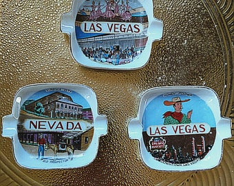 Three Porcelain Vintage Kischy Las Vegas and Virginia City Souvenir Ashtrays