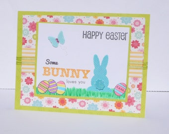 Happy Easter Greeting Card - Easter Bunny Handmade Paper Card - Kids Fun Easter Cards, Childrens Easter Cards, Card for Kid