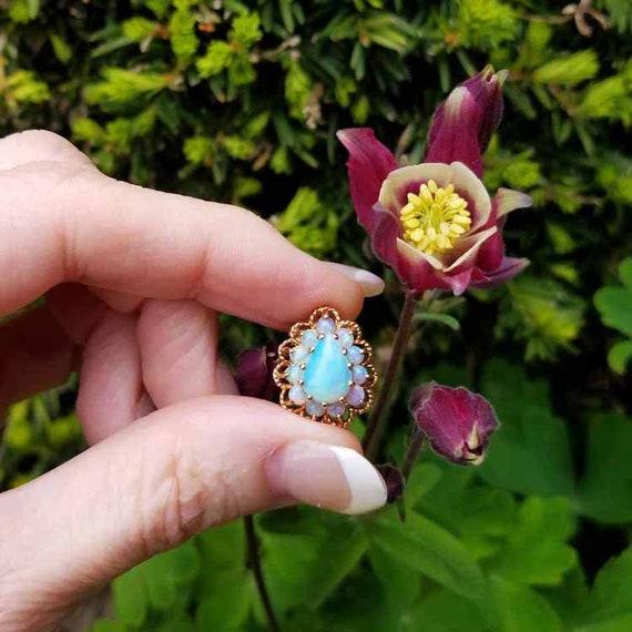 Modern estate 14k gold pear shaped opal halo slide pendant