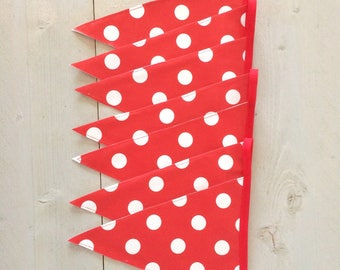 Oilcloth red polka dots banner