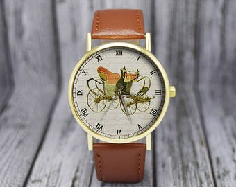 Vintage Horse Drawn Carriage Watch | Leather Watch | Classic Style Watch | Men's Watch | Gift For Him | Birthday Gift | Fashion Accessories