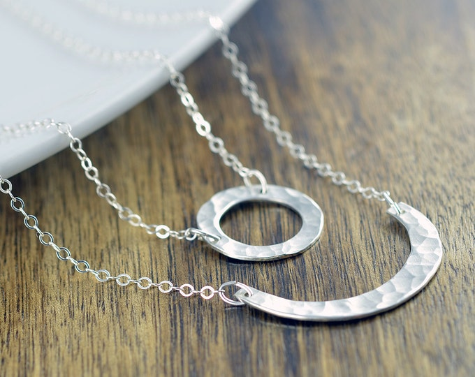 Sterling Silver Karma Necklace - Hammered Circle Pendant - Layered Necklace Set - Silver Crescent Pendant - Silver Curve Necklace