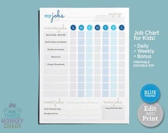 Printable Chore Chart - Blue | Daily, Weekly, Bonus Job Chart | Kids Chores & Tasks | Responsibilities Checklist | Editable PDF Download