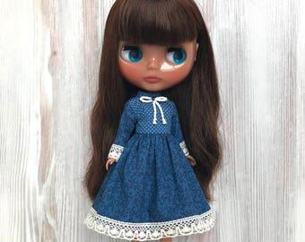 Blythe blue dress, doll clothes, fashion, doll outfit, 30 cm dolls clothes, 12 inch doll dress, Pullip dress, doll dress, blythe clothing