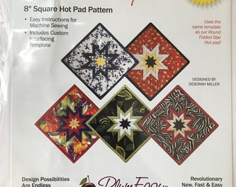 Square Folded Star Hot Pad Pattern - Plum Easy Patterns