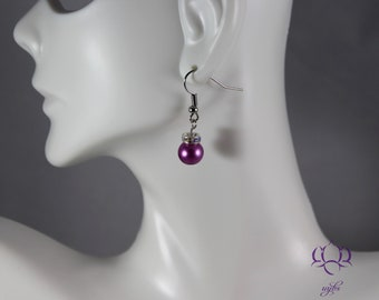 Elegant Pink Glass Pearl Earrings