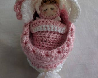 Crochet Cradle Purse in Light Pink, A Smaller Version