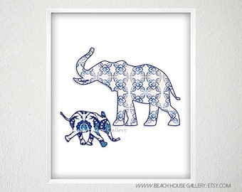 Blue Elephant Print, Blue White Nursery Art, Blue Chinoiserie Wall Art, Blue White Decor, Chinoiserie Wall Art, Asian Decor Elephant Nursery