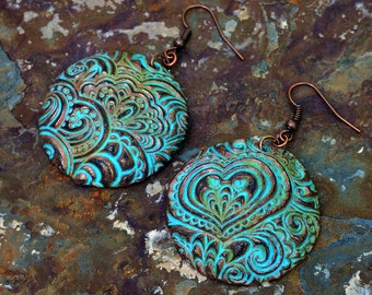 Hearts doodle polymer clay earrings