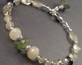 Lilly Bracelet - Citrine, Iolite, Honey Jade, Peridot, Czech Glass and Sterling Silver