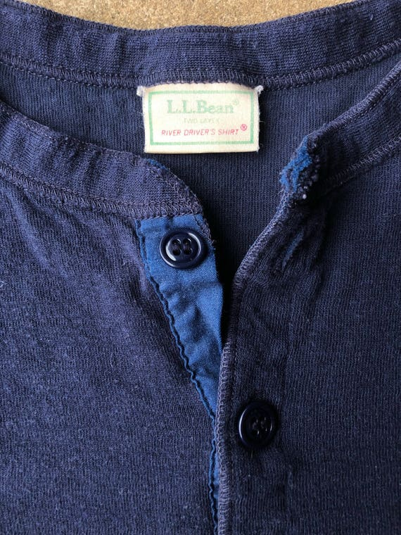 vintage LL Bean river driver henley, mens large tall