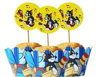 ON SALE 24 PC Set Tom and Jerry themed Mouse Cartoon Cupcake Wrappers and Toppers