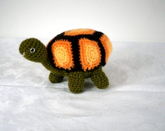 Brian the tortoise is looking for a new home, crocheted tortoise soft toy by Liz