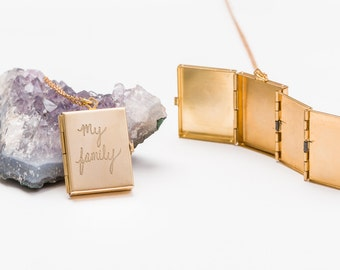 Folding Photo Album Locket...Holds 4 Photos and get it Customized with FREE Personalized Engraving
