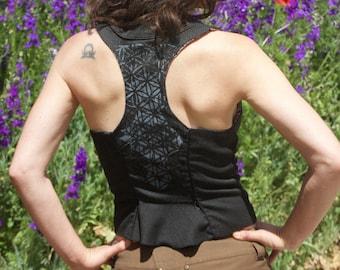 Screen Print - Women's Vest - Flower of Life - Black