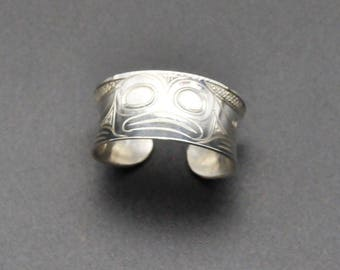 Hand Engraved Sterling Silver Frog Ring