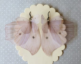 I Will Fly Away - Handmade Blush Pink Butterflies and Wings Earrings Silk Organza - Made to Order