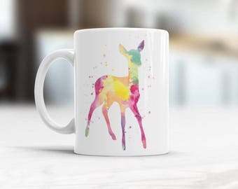 Roe Mug, Roe Watercolor Ceramic Mug, Deer Roe Coffee Mug, Animal Tea Cup, Art Illustration, Cool Kitchen Art Printed Roe, Children roe cup