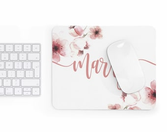 Custom name Mousepad, cherry blossom, personalized mouse pad