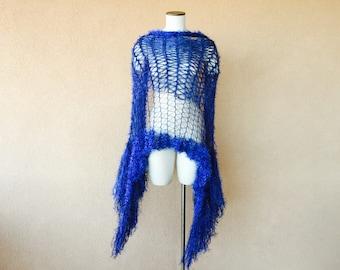 Blue Wedding Fringe Wrap Cobalt Blue Shawl Midnight Blue Shawl, Sapphire Blue Shawl Accessories Jewel Tone Shoulder Wrap