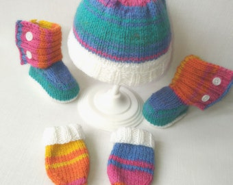 Hand knitted colourful hat, mitts and booties. Baby pram set. Beautiful baby shower/welcoming gift. Up to 12 months. Matching accessories.