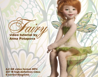 Video tutorial. Fairy. Wings as a gift! Needle felted doll. The disc with the video. Art doll tutorial
