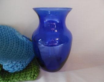 Glass Vase, Cobalt Blue Glass Large Vase for Roses and Bouquets, Wedding vase