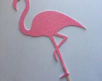 Pink Glitter Flamingo Cake Topper