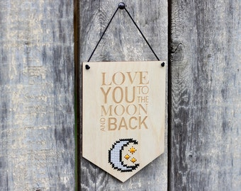 Love You to the Moon & Back Cross Stitch Kit -  Modern DIY Kit - Easy Beginner Cross Stitch Kit with Wood Disc - Craft Kit for Nursery