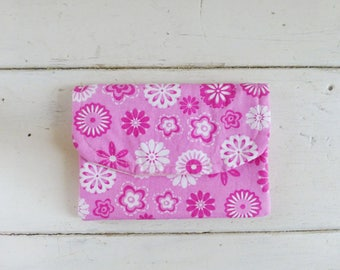 Fabric Wallet, women's wallet, women's gift idea,  hook & loop tape closure, ready to ship, purple wallet, floral print, cute accessory