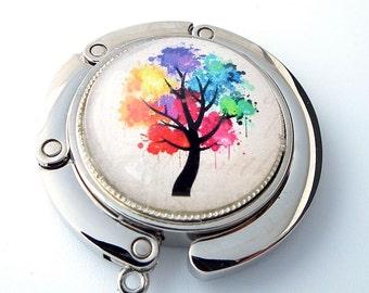 Purse Hanger - Multi Color Tree - Photo Glass Cabochon, Purse Hook