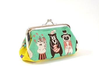 animal circus, metal frame purse, kiss lock purse