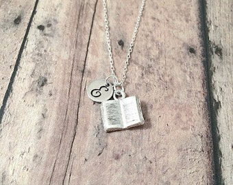 Book initial necklace - book jewelry, teacher necklace, librarian necklace, reading jewelry, silver book pendant, gift for teacher