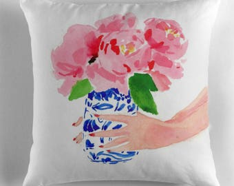Illustrated Pillow: Peonies in a Ginger Jar {Fashion pillow, cute pillow, illustration pillow, girl's room, dorm room, reading pillow}
