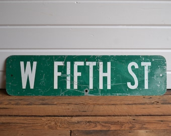 Salvaged Vintage Metal Street Green White West Fifth Street Industrial Sign