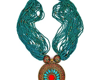 Jayde N' Grey Tibetan Turquoise & Coral Inlay Bohemian Beaded Statement Necklace