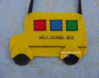 School Bus Felt Treat Bag // Teacher Favor Bag // School Bus Surprise Pocket // Bus Driver Surprise