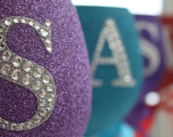 Personalised Glitter Wine Glass Large Diamante Initial Letter