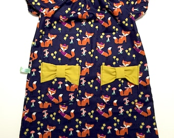 Girls Dress -Girls  Fox Dress -  Foxes- Woodland Animals - Girls clothing - Toddler Girls Fox print Dress - First Birthday Party Dress