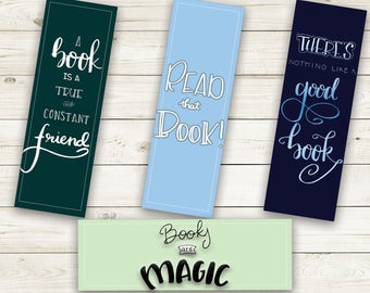 Printable Bookmarks, Set of Four Hand Lettered, Book Quote Bookmarks, Instant Download, Gift for Book Lovers, Gift for Readers, Bookmark Set