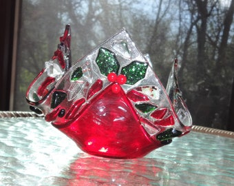 Holly Berry Fused Glass Christmas Candle, Red and Green Candle Shelter, Votive Holder, Red and Green Holiday Candle Cup
