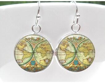 Globe Earrings - World Map Earrings  - Gift for world traveler - Pastel World Map Sterling Silver Plated Dangle Earrings