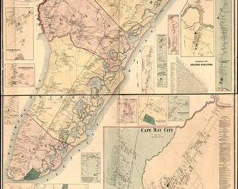 Map of Cape May County, New Jersey 1872. Vintage restoration hardware home Deco Style old wall reproduction map print.