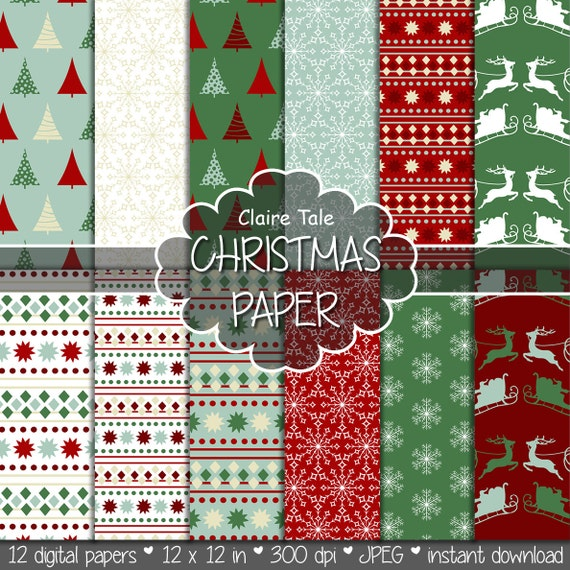 "Christmas digital paper: ""CHRISTMAS PAPER"" christmas backgrounds with deers, santa, snowflakes, christmas trees"