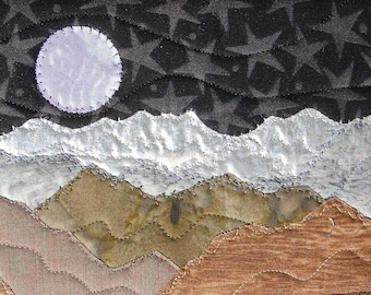 Moon and Stars -  Fabric Postcard - Postcard Art - Mountain Night - Small Quilt - Quilt Art - Landscape Art - Dreaming - Mountain Landscape
